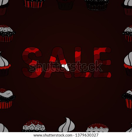 Vector. Picture in brown, black and red colors. Seamless. Banner clearance sale.