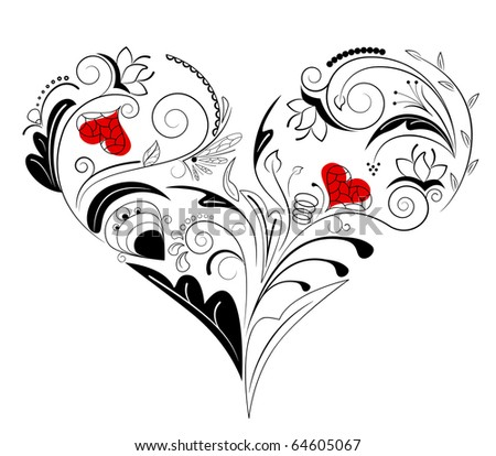 Vector picture of black heart with floral ornament