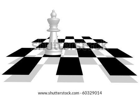 Vector picture of chess. Queen on the battlefield in perspective.