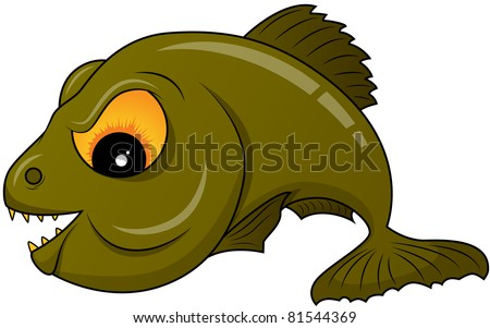 Vector picture of green piranha