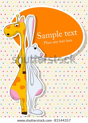 Vector picture of rabbit and giraffe