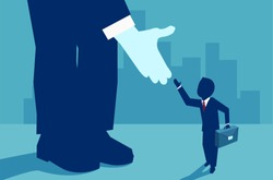 Vector picture of small businessman supported by unknown investor giving him opportunity.