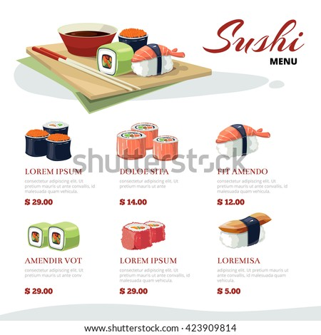 vector picture of Sushi rolls and japanese sea food. illustration with flat color  isolate on light background. Asia cuisine menu