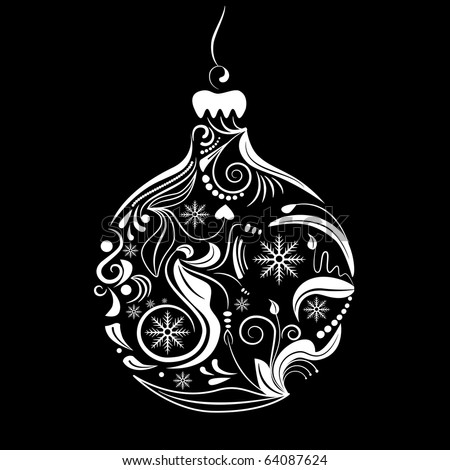 Vector picture of white silhouette of christmas ball on black background