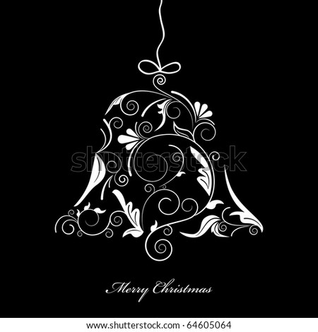 Vector picture of white silhouette of christmas bell on black background