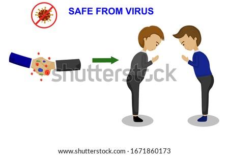 Vector picture show avoid shake hands because outbreak of virus , covid19 virus, coronavirus should be to namaste greeting. Greeting background , shake hands background , namaste background.