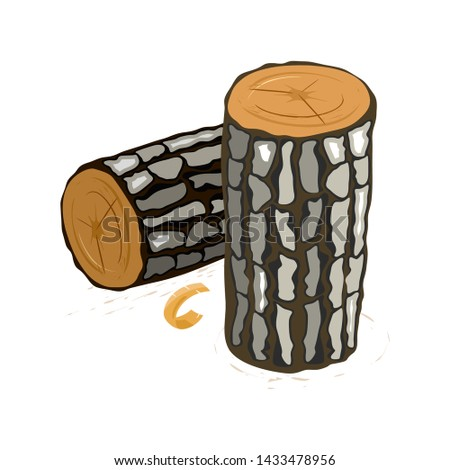 Vector picture shows lying and standing brown logs with grey segmented bark cartoon isolated illustration