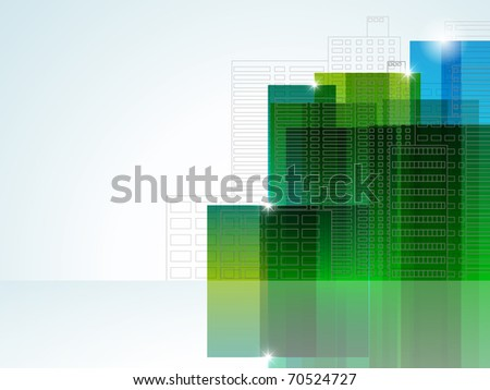 Vector picture with abstract buildings