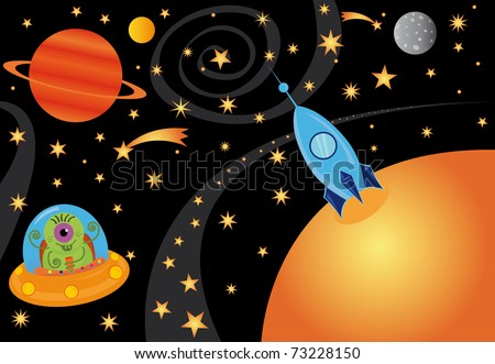Vector picture with alien in the spaceship in the universe