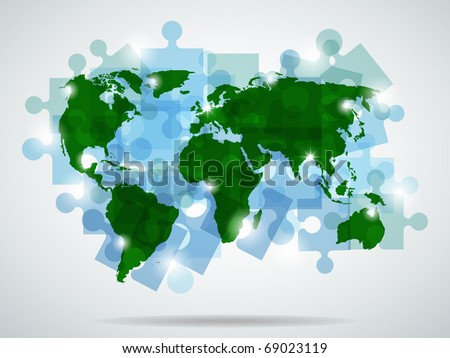 Vector picture with blue puzzles and green map