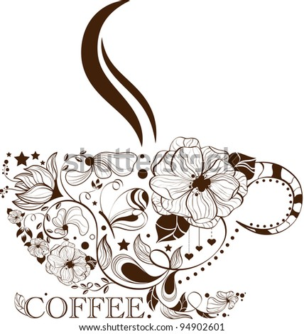 Vector picture with coffee cup
