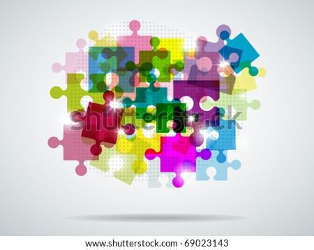 Vector picture with colorful puzzle and bright light