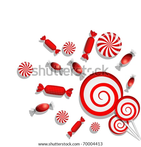 Vector picture with different red candies