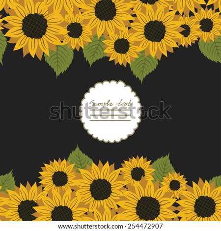 Vector picture with flowers sunflower