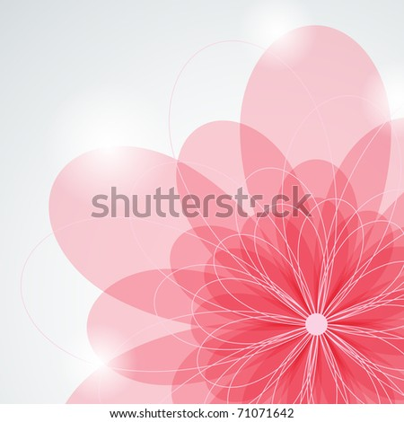 Vector picture with pink flower