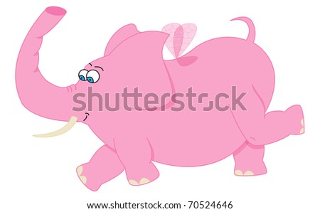 Vector picture with pink flying elephant