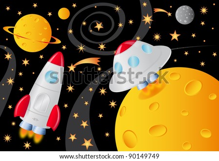 vector picture with spaceships in the universe