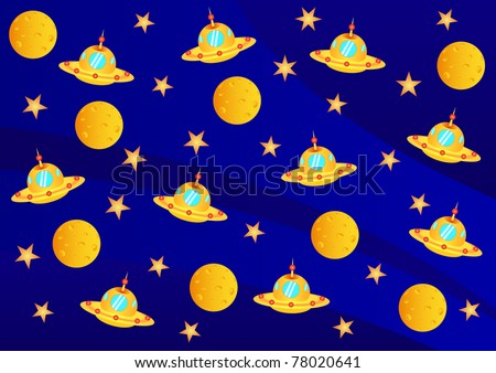 Vector picture with ufo, planets and stars in the universe