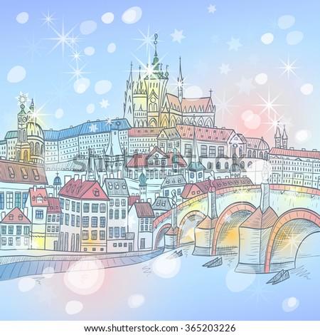 vector picturesque winter view