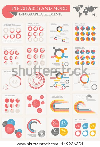 Vector pie chart infographic elements set. Flat design vector world map with various of vector infographic elements as charts, pie charts, diagrams for data visualization.