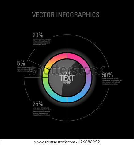 Vector Pie Chart Infographic On Black Background - 126086252 ...