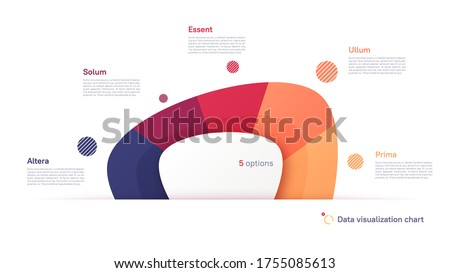 Vector pie chart infographic template in the form of abstract shape divided by five parts.
