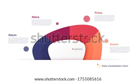 Vector pie chart infographic template in the form of abstract shape divided by four parts.