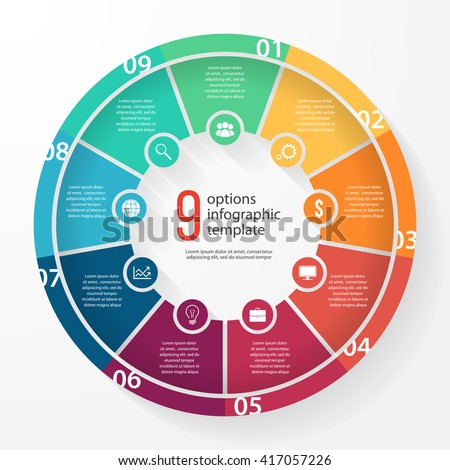 Shutterstock Vector pie chart template for graphs, charts, diagrams. Business circle infographic concept with 9 options, parts, steps, processes.