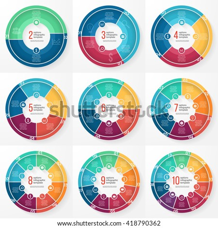Vector pie chart templates for graphs, charts, diagrams.  Circle infographic concept with 2-10 options, parts, steps,  processes.