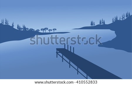 vector pier of silhouette with