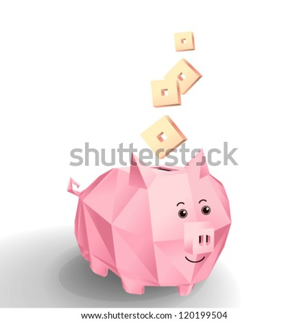 Vector - pig piggy bank (in style of mosaic)