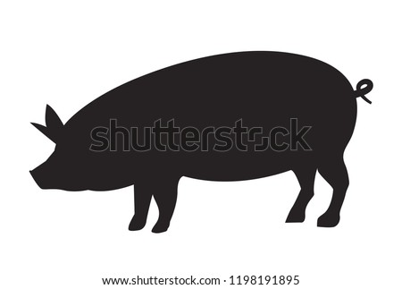 Vector pig silhouette side retro vintage template. Pork animal icon background. Pig farm.
