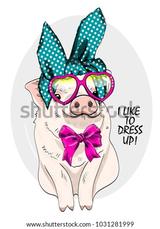 vector pig with glasses and bow