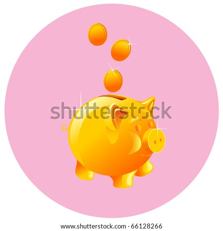 vector piggy bank and coin
