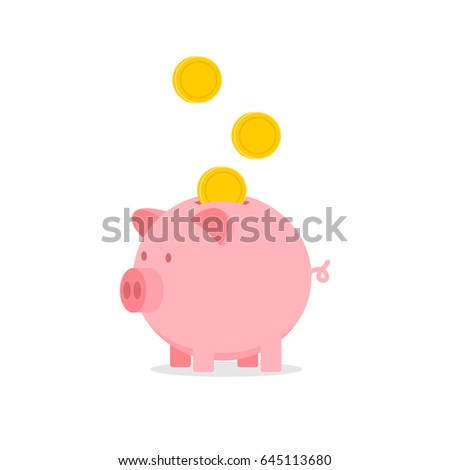 vector piggy bank with falling coins icon illustration
