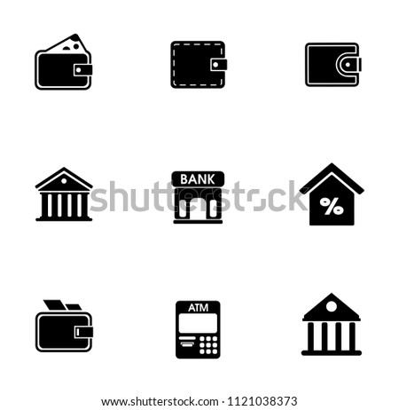 vector piggy banking icons set - financial business sign symbol, finance and marketing illustrations isolated