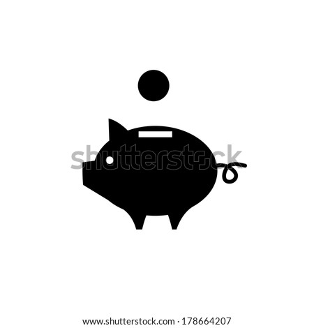 vector piggy money bank icon | flat design black pictogram on white background