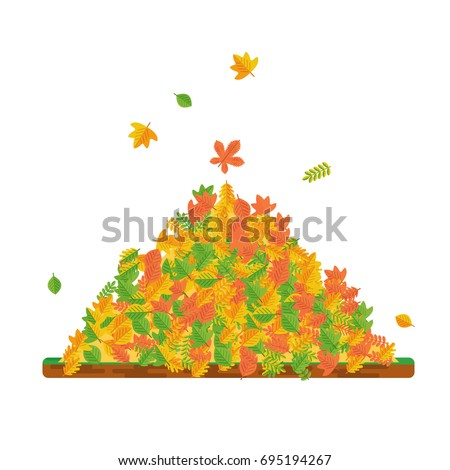 vector pile of autumn leaves