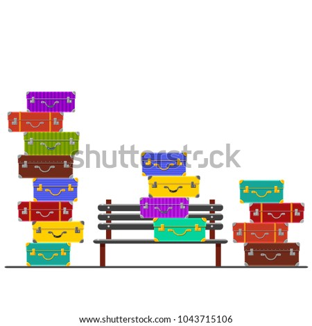 Vector piles of colorful cases around a bench on a railway station. Traveling. Summer holidays. Bright baggage. Cute cartoon luggage. Tourist elements. Waiting for a train or a bus