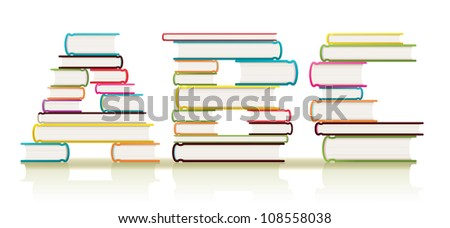 Vector piles of textbooks arranged to form three ABC letters of the alphabet