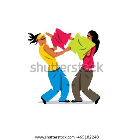 vector pillow fight cartoon