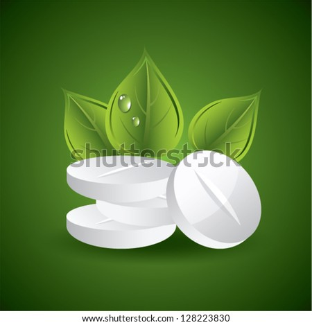 vector pills and leaves, natural medicine concept