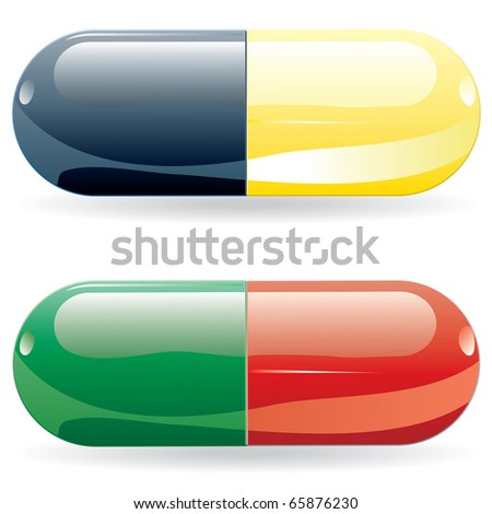 vector pills in sting and red and green colors