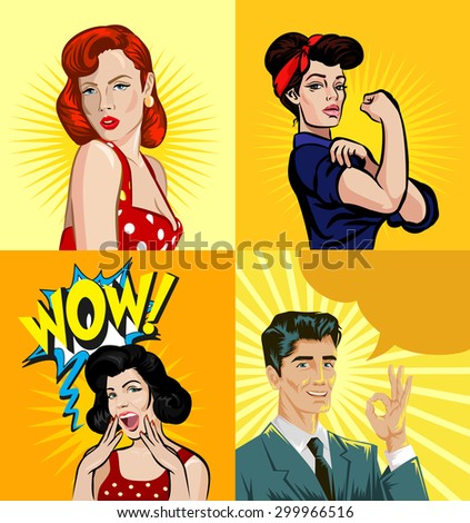 vector pin up people