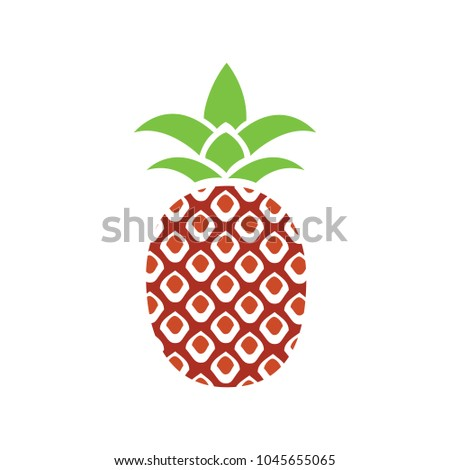 vector pineapple icon, tropical fruit, healthy food