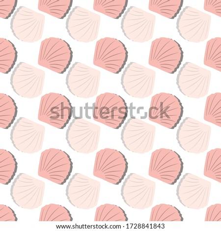 vector pink beach shells from