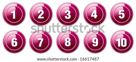 vector pink buttons numbers from 1 to 10