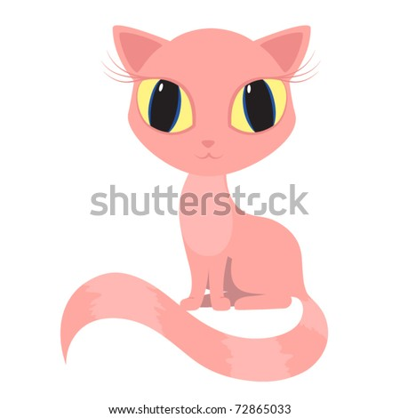 vector pink cat kitty pussicat