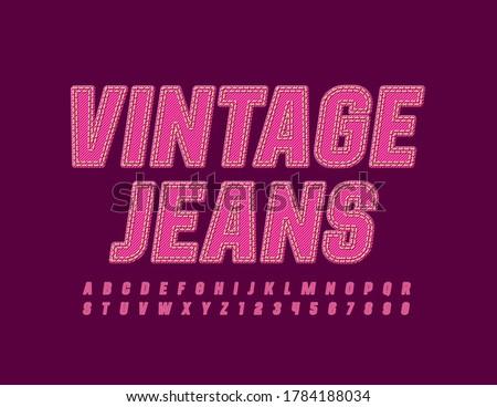 Vector pink denim emblem Vintage Jeans. Stitched fabric Font. Bright textile Alphabet Letters and Numbers