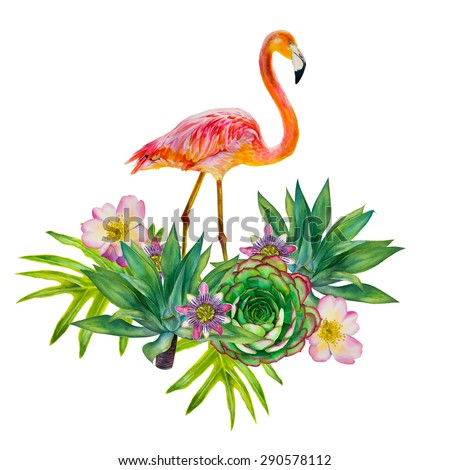 vector pink flamingo with